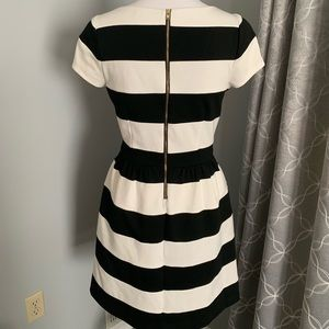 Elle black and white striped dress